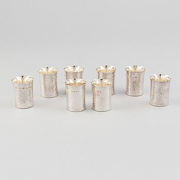 Hans Wigardt, eight sterling silver cups, Norrköping, 1986.