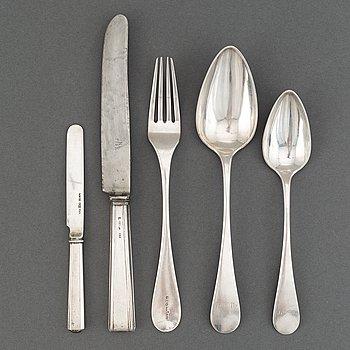 Resebestick, 5 delar, silver, Finland 1800-tal.
