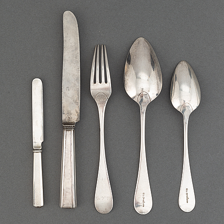 A finnish silver cutery travel set, 19th century.