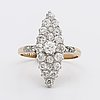 Diamond ring 18k gold and platinum approx 1 ct in total, stockholm 1906.