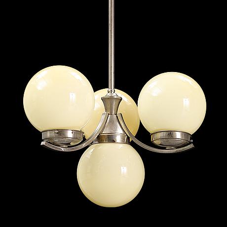 A chrome and glass ceiling light, 1930's.