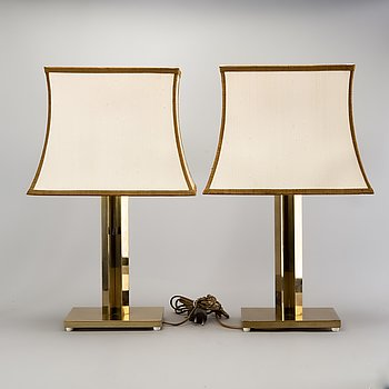 A pair of Bergboms brass table lamps later part of the 20th century.