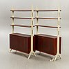 """A pair of ikea """"roxen 1960s mahgony book cases."""
