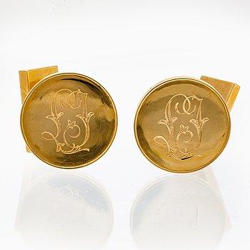 Manchettknappar, 18K guld, 39,3 g, Strömsten Lund 1955, diameter ca 20 mm.