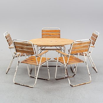 A garden table with five armchairs, second half of the 20th Century,