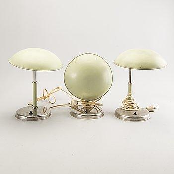Table lamps, 3 pcs, functional, 1930s-40s, Sweden.