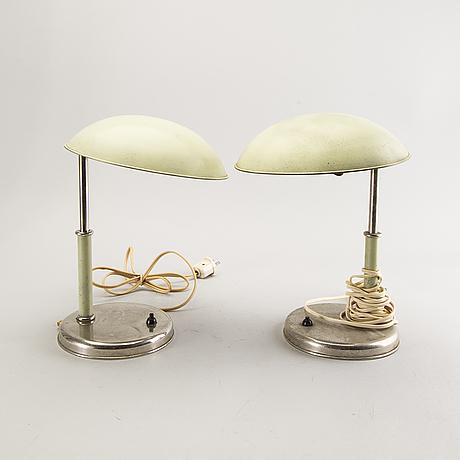 Bordslampor, 3 st, funkis, 1930-40-tal, sverige.