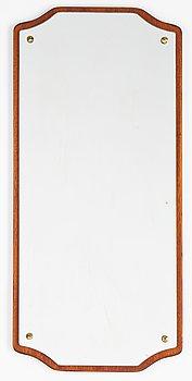 A mahogany veneered mirror, 1950's/60's.