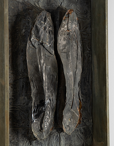 Urban engström, relief, zinc/tin plate, signed and dated 1989-1990 verso.