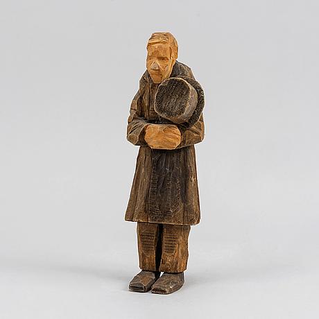 Axel petersson döderhultarn, skulptur, snidat och bemålat trä, stämpelsignerad.