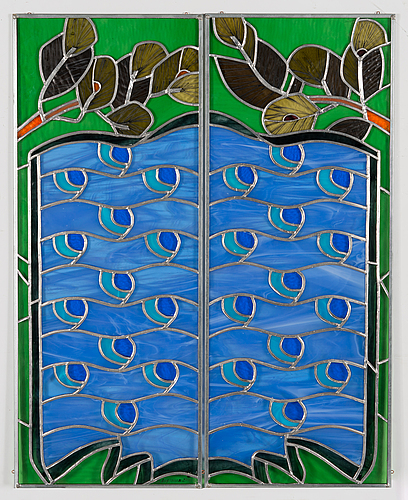 Dolores hoffmann, glass painting, signed and dated 2004.