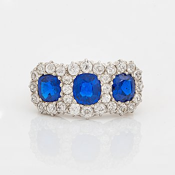 Synthetic blue spinel and old cut diamond ring.