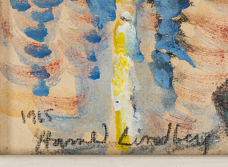 Harald lindberg, mixed media on paper, signed and dated 1965.