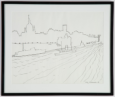 Stig claesson, indian ink drawing, signed and dated 1979.