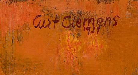 Curt clemens, oil on panel, signed and dated 1939.