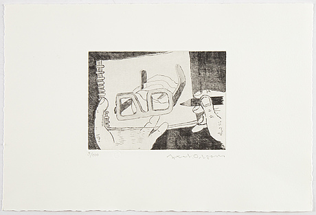 Axel olson, portfolio with 3 drypoint etchings, 1984, signed 9/100.