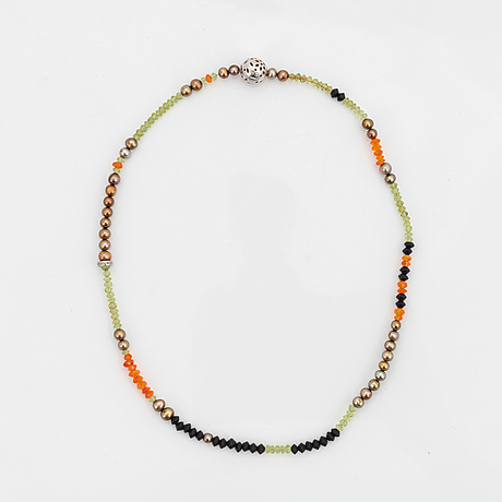 Ole lynggaard, charlotte lynggaard, two necklaces with coloured stones and pearls.