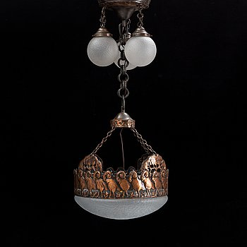 An Art nouveau copper ceiling lamp, early 20th century.