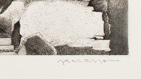 Axel olson, etsningar, 5 st, signerade och numrerade.