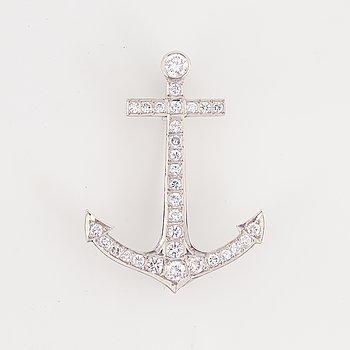 Brilliant-cut diamond anchor brooch.