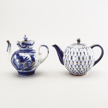 A set of two tea pots and one tea caddie lomonosov russia mid 1900s.
