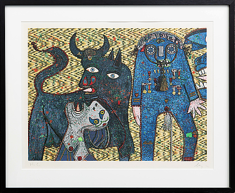 Enrico baj, lithograph in colours signed and numvered hc.
