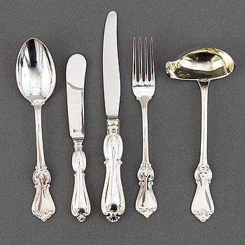 A swedish silver cutlery, 'Olga' GAB, Stockholm and Eskilstuna, 1966-80. (39 pieces).
