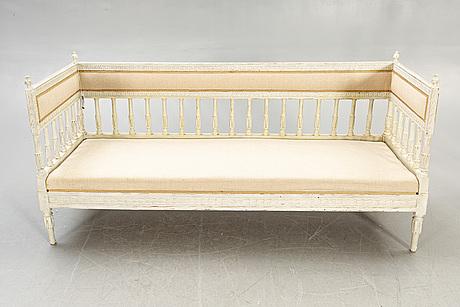 A painted swedish gustavian sofa around 1800.