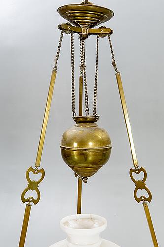 A jugend brass celing paraffin lamp.