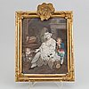 A rococo frame, 18th century with a gouache after jean baptiste greuze.