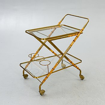 A brass and bamboo serving trolley mid 1900s.
