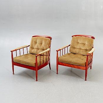 A pair of easy chairs 'Skrindan' by Kerstin Hörlin-Holmquist.
