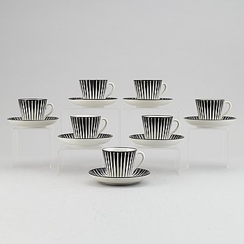 A set of seven porcelain 'Zebra' coffee cups with saucers, designed Eugene Trost for Gefle, Sweden.