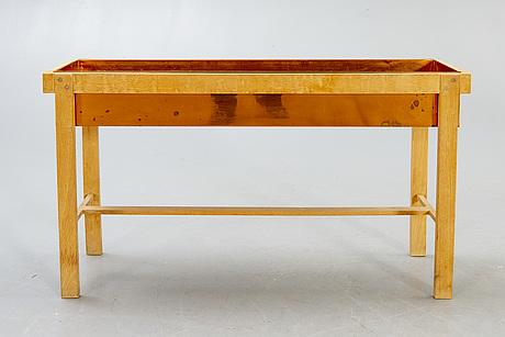 Flower table, oak and copper, denmark, 1960s.