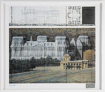 Christo & Jeanne-Claude, färgoffset med tygapplikation, signerad.