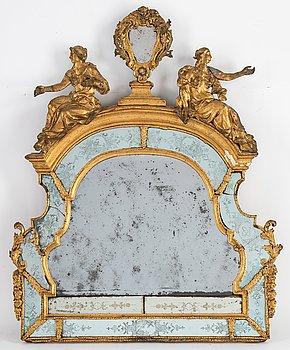 Spegelkrön, Burchardt Prechts verkstad (verksam Stockholm 1674-1738), Senbarock, 1700-talets början.