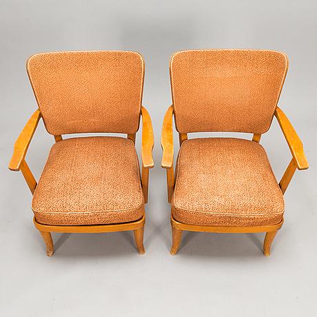 Einari kyöstilä, a pair of 1940s armchairs for oy stockmann ab,  keravan puusepäntehdas, finland.