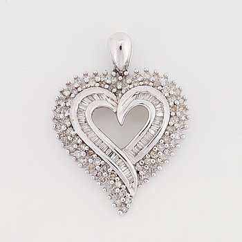 10K white gold and brilliant and baguette diamond pendant.