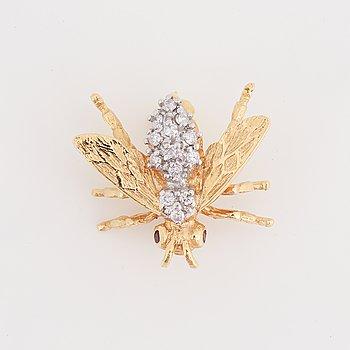 Brilliant-cut diamond and ruby bug brooch, Strömdahls.