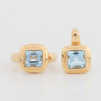 18K gold and topaz ring and pendant, Guldfynd.