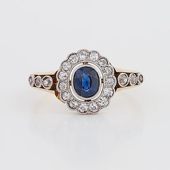 Sapphire and old-cut diamond ring.