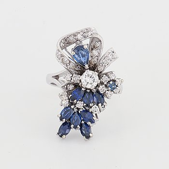 Sapphire and diamond bow ring.