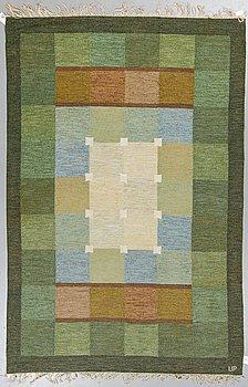 Ulla Parkdal, a carpet, flat weave, ca 239,5 x 158,5-160 cm, signed UP.