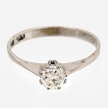 Ring 14K whitegold 1 brilliant-cut Diamond approx 0,58 ct approx W/P.