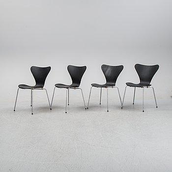 Arne Jacobsen, four 'Series 7' chairs, Fritz Hansen, Denmark, second half of the 20th century.