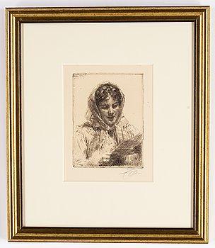 Anders Zorn, etsning, 1913, signerad med blyerts.