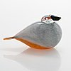Oiva toikka, a glass bird signed o. toikka nuutajärvi.