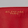 Balenciaga, red leather 'padlock all time tote bag'.