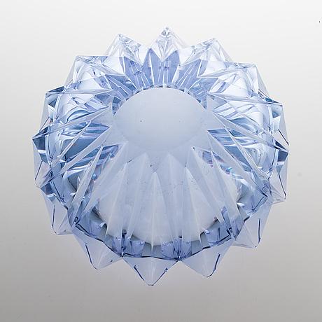 Aimo okkolin, a 'water lily' bowl, signed aimo okkolin riihimäen lasi oy.