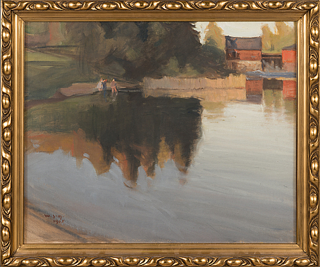 Wilho sjöström, oil on canvas, signed and dated 1908.